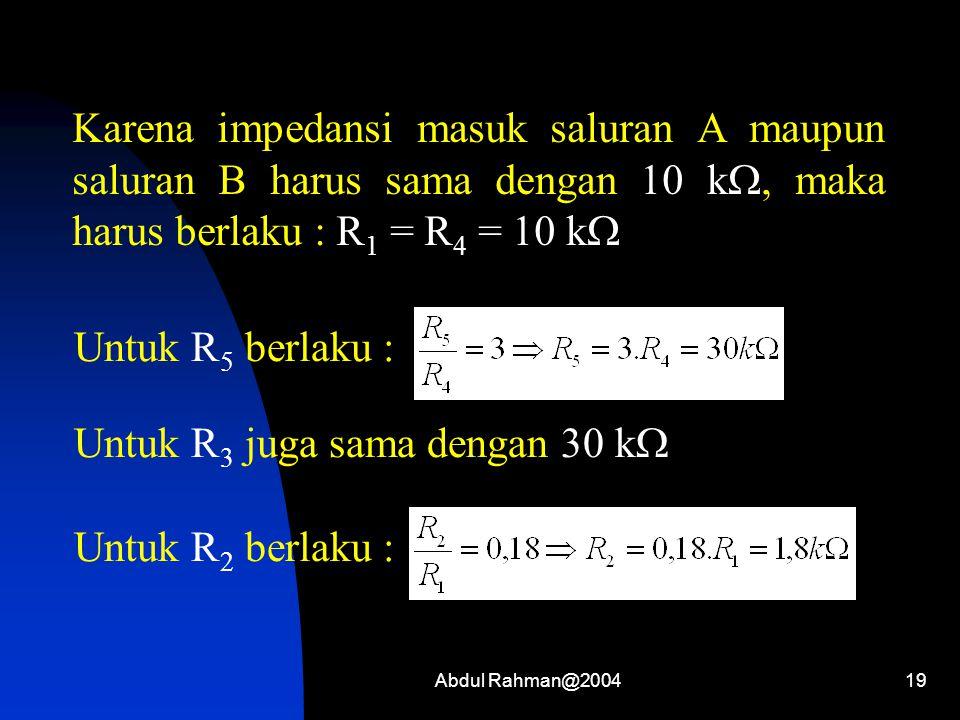 Abdul Rahman@200419 Karena impedansi masuk saluran A maupun saluran B harus sama dengan 10 k , maka harus berlaku : R 1 = R 4 = 10 k  Untuk R 5 berl