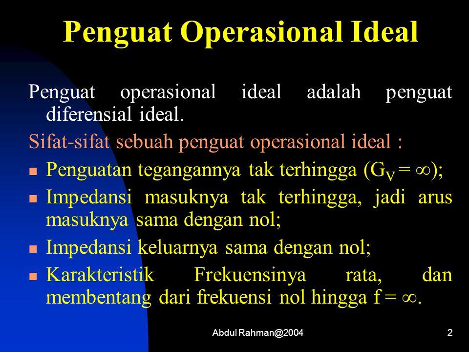 Abdul Rahman@20043 Penguat Operasional Praktis (Tidak Ideal) Dalam prakteknya tidak ada penguat operasional yg ideal, Namun demikian sebuah penguat operasional praktis seringkali dapat dianggap seolah-olah memiliki sifat-sifat ideal.