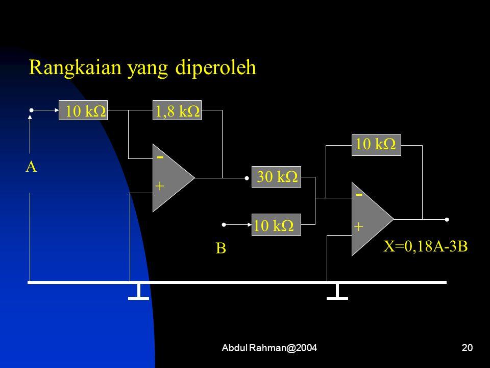 Abdul Rahman@200420 - + 10 k  A - + X=0,18A-3B B 1,8 k  30 k  10 k  Rangkaian yang diperoleh