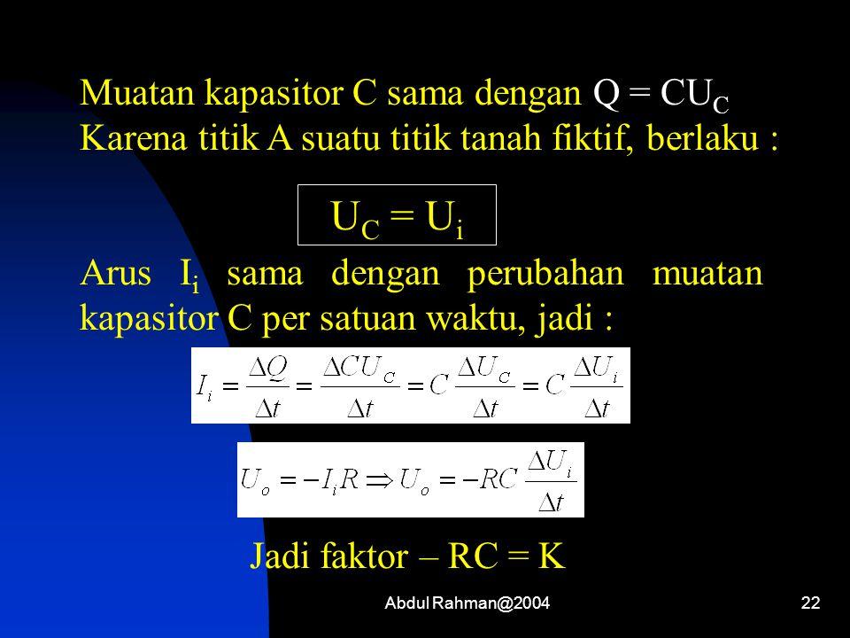 Abdul Rahman@200422 Muatan kapasitor C sama dengan Q = CU C Karena titik A suatu titik tanah fiktif, berlaku : U C = U i Arus I i sama dengan perubaha