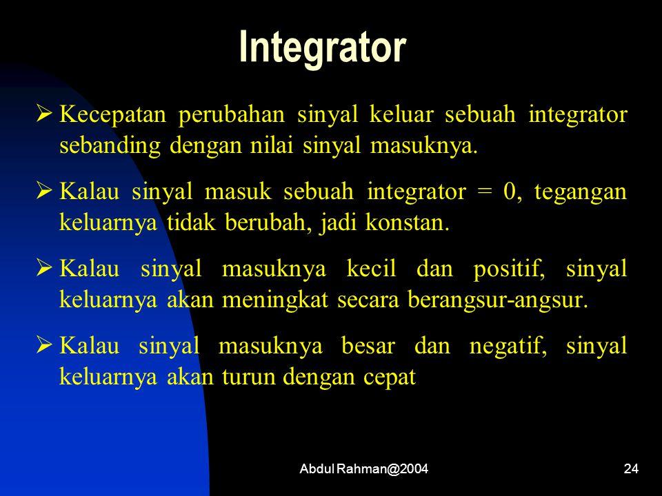 Abdul Rahman@200424 Integrator  Kecepatan perubahan sinyal keluar sebuah integrator sebanding dengan nilai sinyal masuknya.  Kalau sinyal masuk sebu