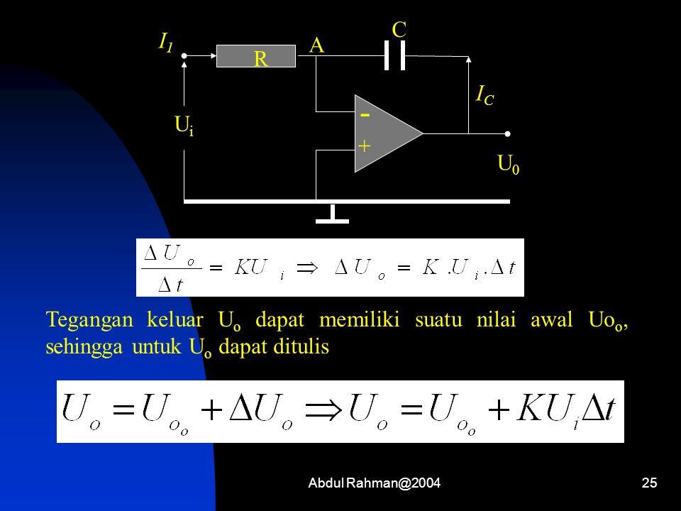 Abdul Rahman@200425 - + I1I1 R UiUi U0U0 A C ICIC Tegangan keluar U o dapat memiliki suatu nilai awal Uo o, sehingga untuk U o dapat ditulis