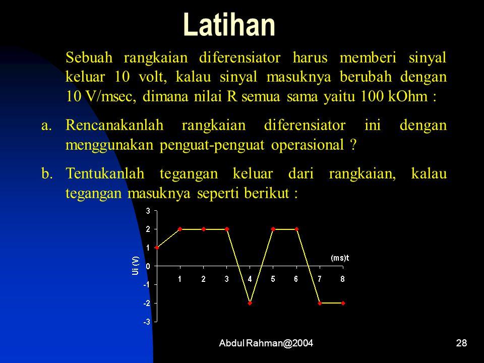 Abdul Rahman@200428 Latihan Sebuah rangkaian diferensiator harus memberi sinyal keluar 10 volt, kalau sinyal masuknya berubah dengan 10 V/msec, dimana