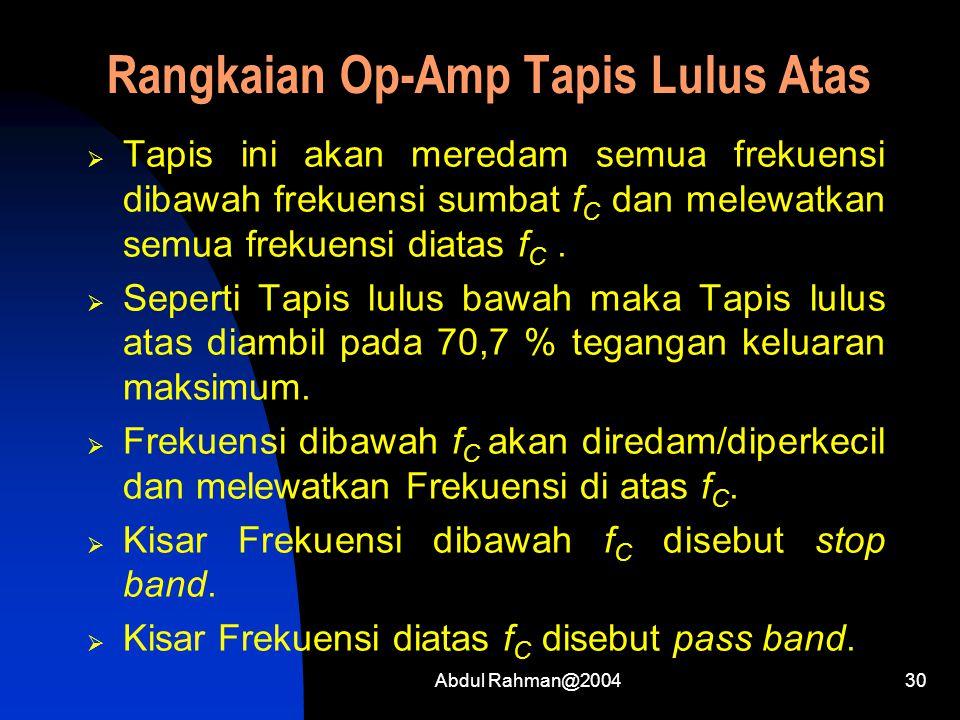 Abdul Rahman@200430 Rangkaian Op-Amp Tapis Lulus Atas  Tapis ini akan meredam semua frekuensi dibawah frekuensi sumbat f C dan melewatkan semua freku