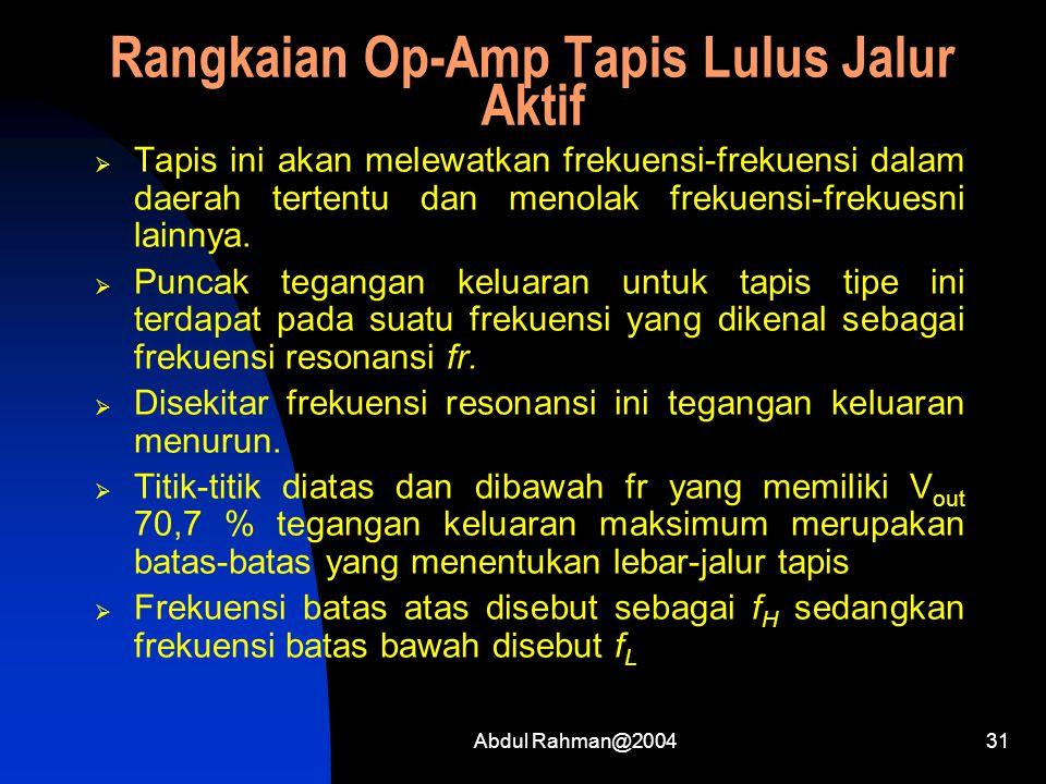 Abdul Rahman@200431 Rangkaian Op-Amp Tapis Lulus Jalur Aktif  Tapis ini akan melewatkan frekuensi-frekuensi dalam daerah tertentu dan menolak frekuensi-frekuesni lainnya.