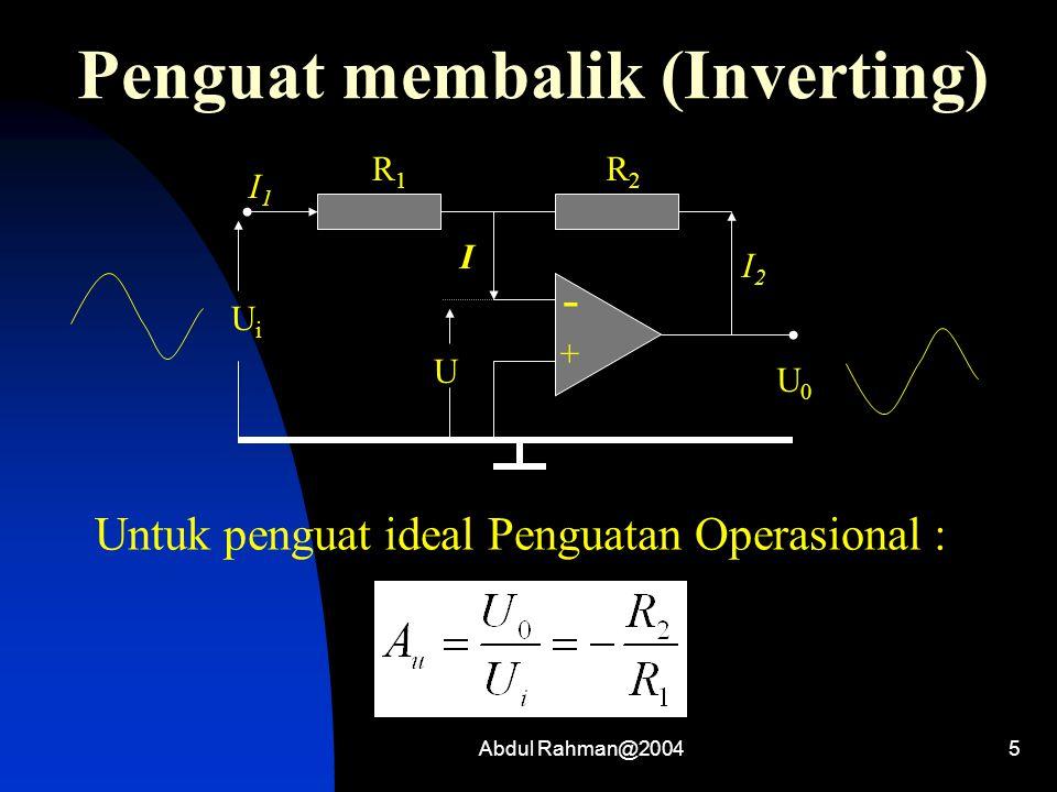 Abdul Rahman@20045 Penguat membalik (Inverting) - + I1I1 R1R1 R2R2 I I2I2 UiUi U0U0 U Untuk penguat ideal Penguatan Operasional :