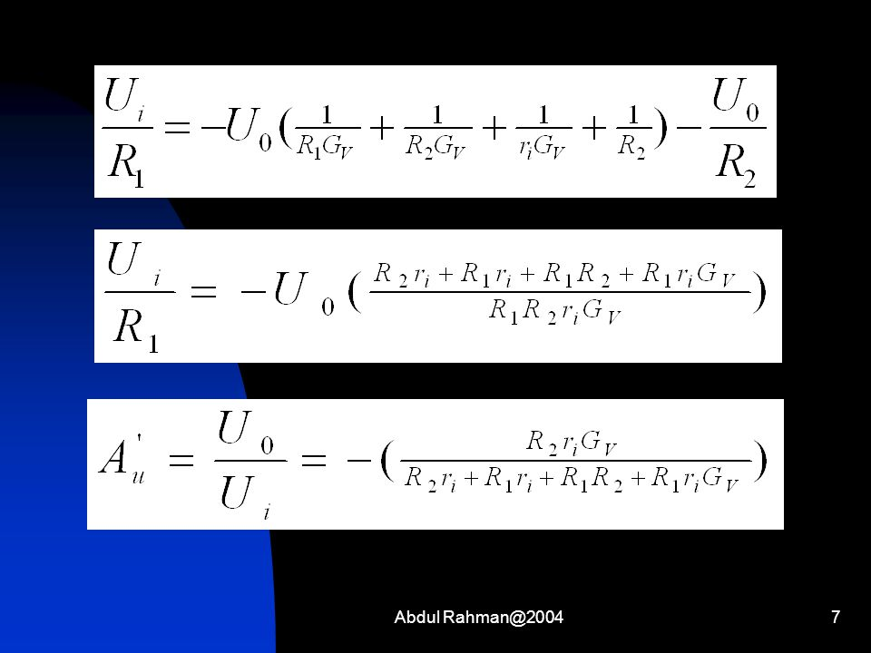 Abdul Rahman@200418 Penyelesaian : Misalkan U 1 = A, U 2 = B dan U o = X, dimisalkan juga bahwa 1 volt ekuivalen dengan nilai angka 1.