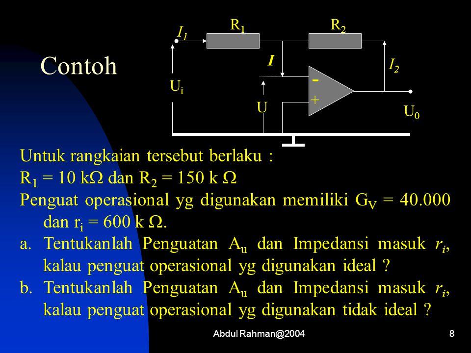 8 Contoh - + I1I1 R1R1 R2R2 I I2I2 UiUi U0U0 U Untuk rangkaian tersebut berlaku : R 1 = 10 k  dan R 2 = 150 k  Penguat operasional yg digunakan memi