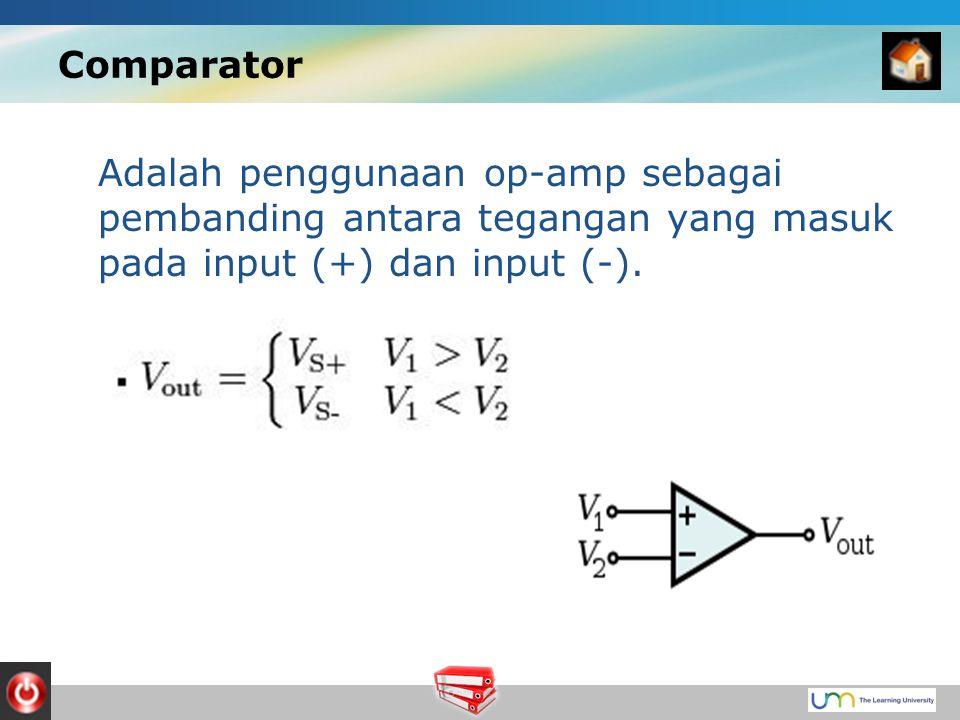 Comparator Adalah penggunaan op-amp sebagai pembanding antara tegangan yang masuk pada input (+) dan input (-).