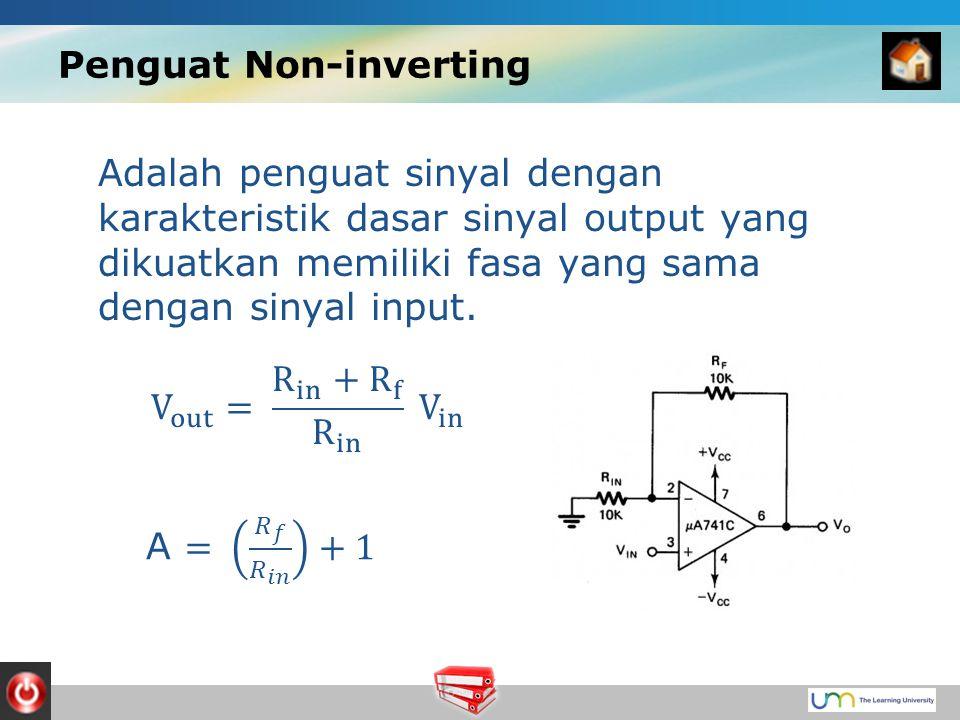 Penguat Non-inverting Adalah penguat sinyal dengan karakteristik dasar sinyal output yang dikuatkan memiliki fasa yang sama dengan sinyal input.