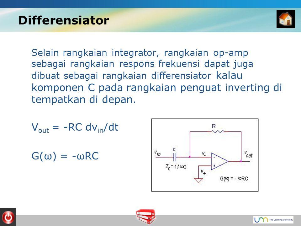 Differensiator Selain rangkaian integrator, rangkaian op-amp sebagai rangkaian respons frekuensi dapat juga dibuat sebagai rangkaian differensiator kalau komponen C pada rangkaian penguat inverting di tempatkan di depan.