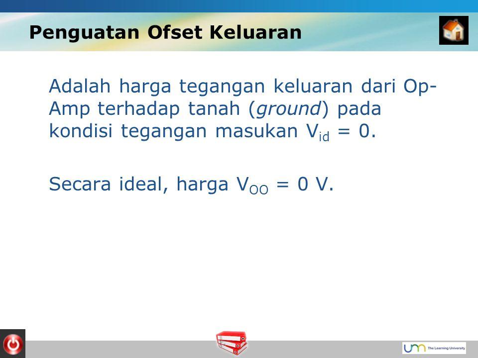 Penguatan Ofset Keluaran Adalah harga tegangan keluaran dari Op- Amp terhadap tanah (ground) pada kondisi tegangan masukan V id = 0.