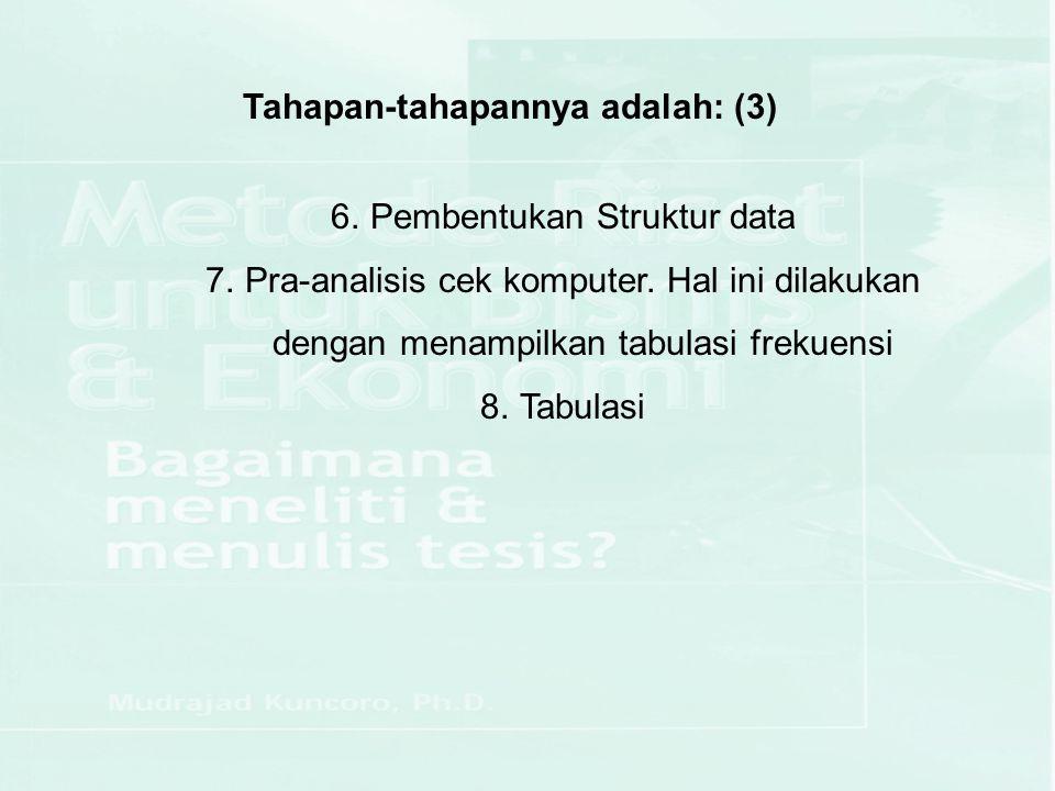 Tahapan-tahapannya adalah: (3) 6.Pembentukan Struktur data 7.Pra-analisis cek komputer. Hal ini dilakukan dengan menampilkan tabulasi frekuensi 8.Tabu