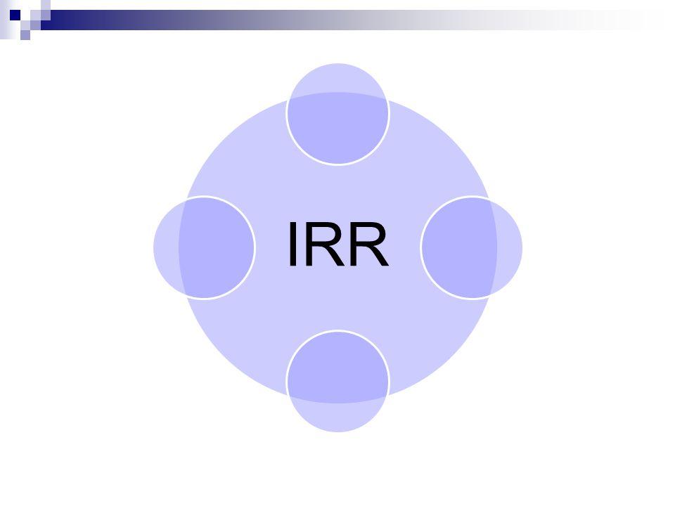 Metode Internal Rate Of Return (IRR) Tingkat pengembalian internal (Internal Rate of Return – IRR)  Tingkat bunga yang dapat menjadikan NPV sama dengan nol, karena PV arus kas pada tingkat bunga tersebut sama dengan investasi awalnya Metode ini memperhitungkan nilai waktu uang, jadi arus kas di diskontokan atas dasar biaya modal / tingkat bunga