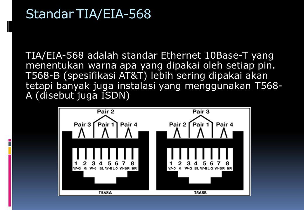 Kategori Kabel UTP Ada 5 kategori kabel UTP menurut TIA/EIA-568:  Category 1 digunakan untuk komunikasi telepon, tidak bisa untuk transmisi data  Category 2 digunakan dalam jaringan Ethernet, memiliki kecepatan data 4 Mbps  Category 3 digunakan dalam jaringan Ethernet, memiliki kecepatan data 10 Mbps  Category 4 digunakan dalam jaringan Token Ring, memiliki kecepatan data 16 Mbps  Category 5 digunakan dalam jaringan Ethernet, memiliki kecepatan data 100 Mbps