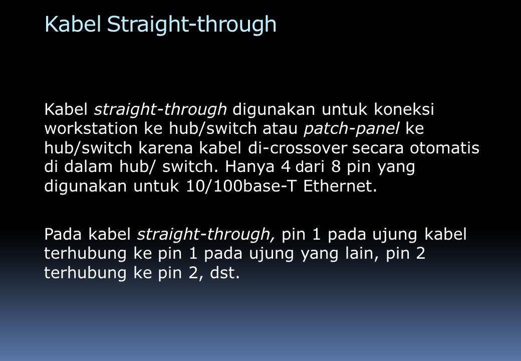 Kabel Rollover/Console Kabel rollover/console digunakan untuk koneksi worlstation ke console port pada router atau switch untuk tujuan mengakses dan mengkonfigurasi router atau switch.