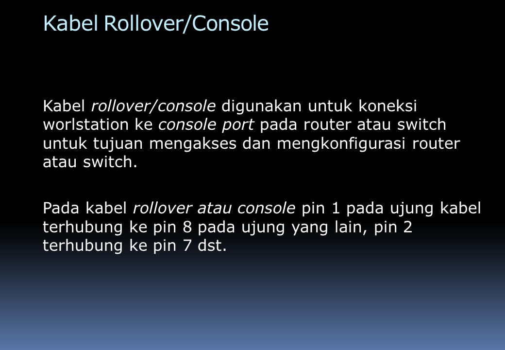 Kabel Crossover Kabel crossover digunakan untuk koneksi dari workstation ke workstation atau dari hub/switch ke hub/switch.