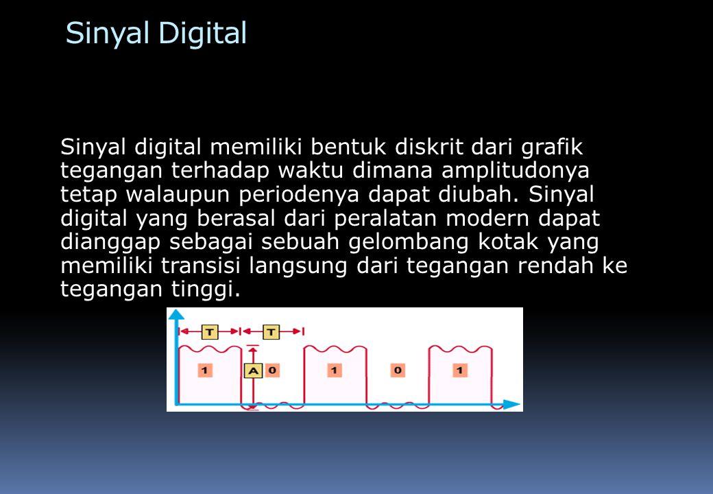 Transmisi Sinyal Digital Komunikasi jaringan umumnya menggunakan transmisi sinyal digital.