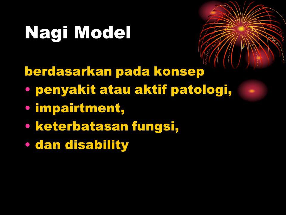 Nagi Model berdasarkan pada konsep penyakit atau aktif patologi, impairtment, keterbatasan fungsi, dan disability