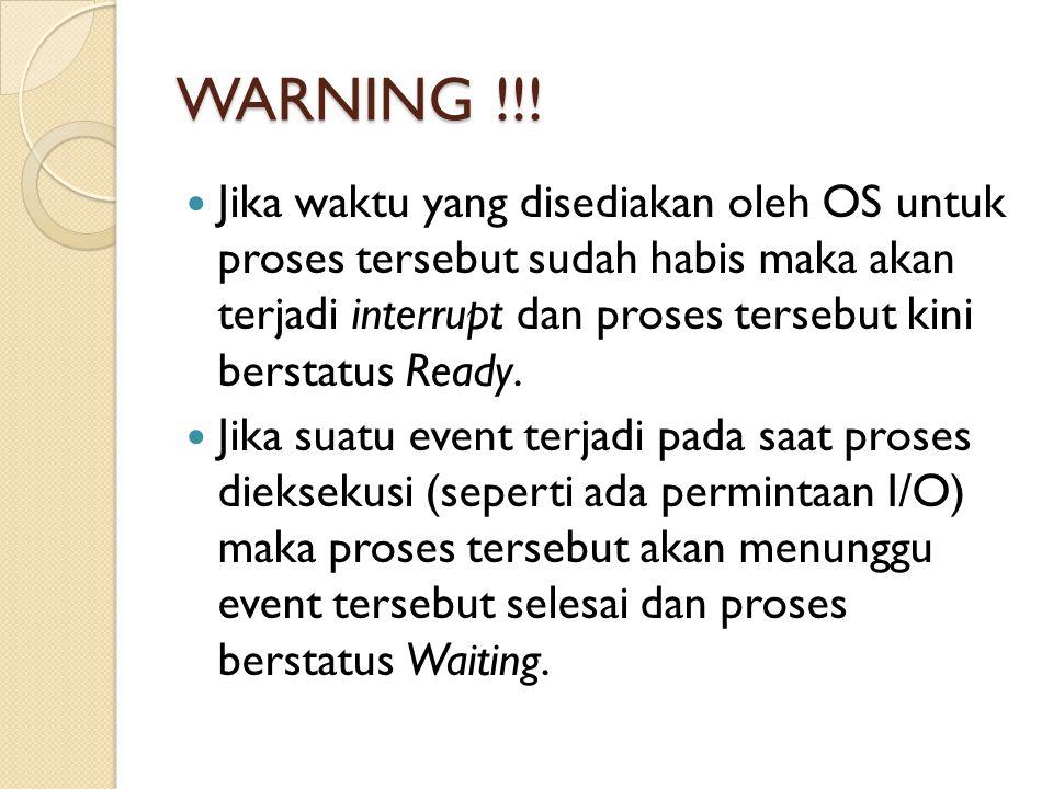 WARNING !!! Jika waktu yang disediakan oleh OS untuk proses tersebut sudah habis maka akan terjadi interrupt dan proses tersebut kini berstatus Ready.