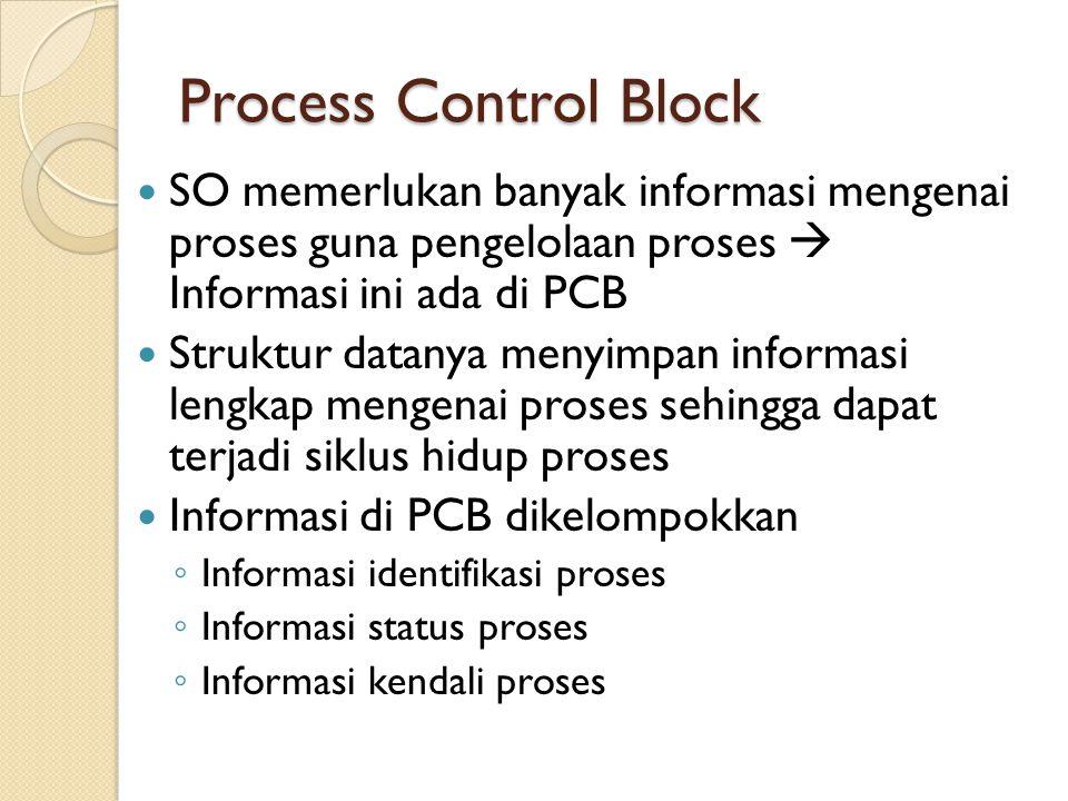 Process Control Block SO memerlukan banyak informasi mengenai proses guna pengelolaan proses  Informasi ini ada di PCB Struktur datanya menyimpan inf