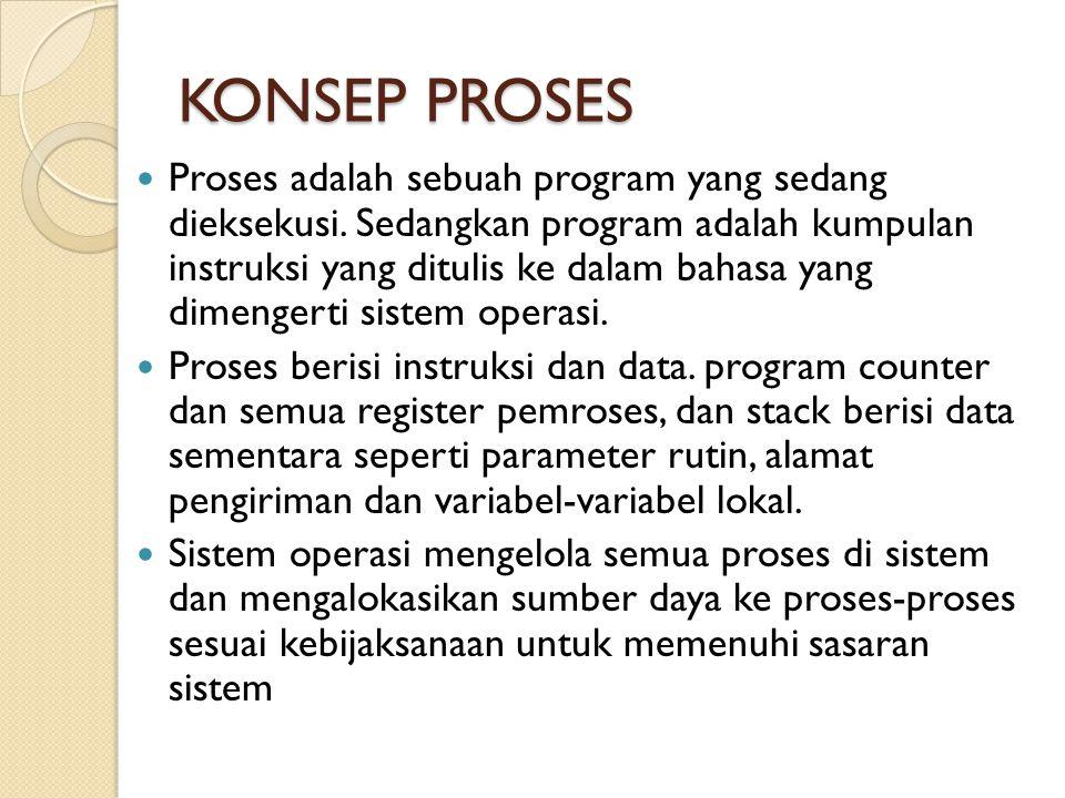 KONSEP PROSES Proses adalah sebuah program yang sedang dieksekusi. Sedangkan program adalah kumpulan instruksi yang ditulis ke dalam bahasa yang dimen