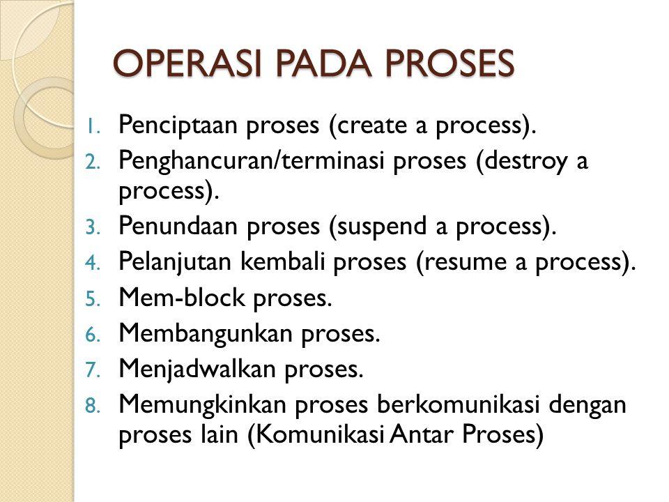 OPERASI PADA PROSES 1. Penciptaan proses (create a process). 2. Penghancuran/terminasi proses (destroy a process). 3. Penundaan proses (suspend a proc