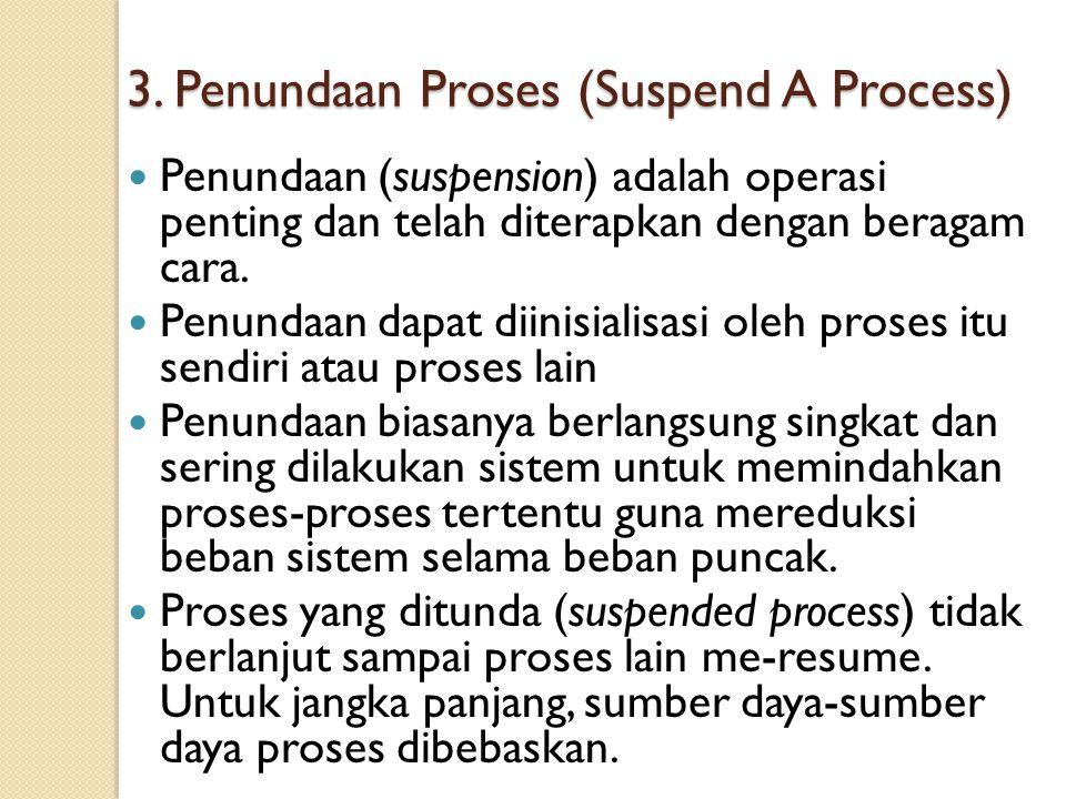 3. Penundaan Proses (Suspend A Process) Penundaan (suspension) adalah operasi penting dan telah diterapkan dengan beragam cara. Penundaan dapat diinis