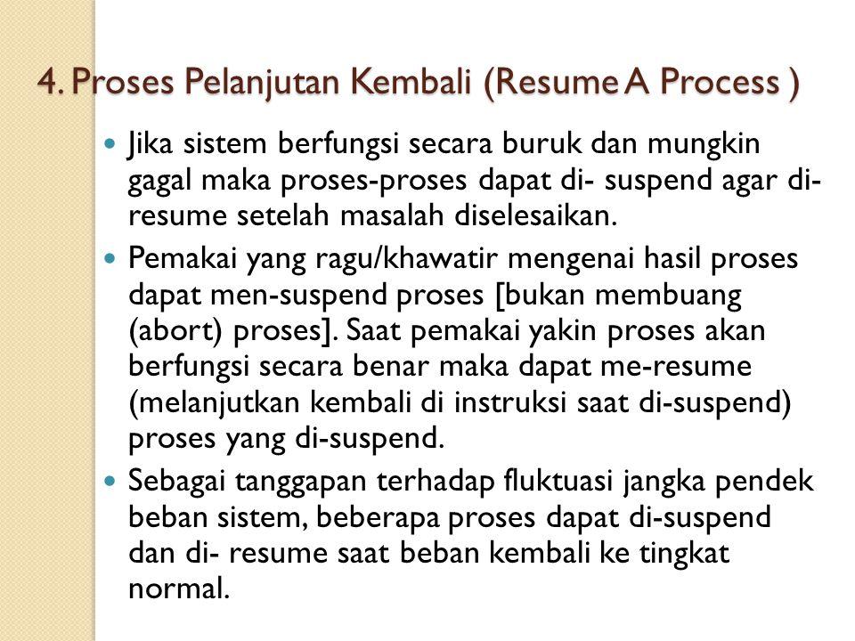 4. Proses Pelanjutan Kembali (Resume A Process ) Jika sistem berfungsi secara buruk dan mungkin gagal maka proses-proses dapat di- suspend agar di- re