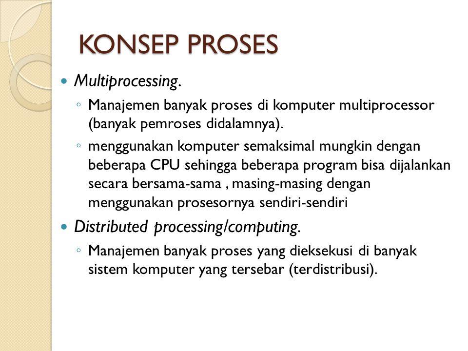KONSEP PROSES Multiprocessing. ◦ Manajemen banyak proses di komputer multiprocessor (banyak pemroses didalamnya). ◦ menggunakan komputer semaksimal mu