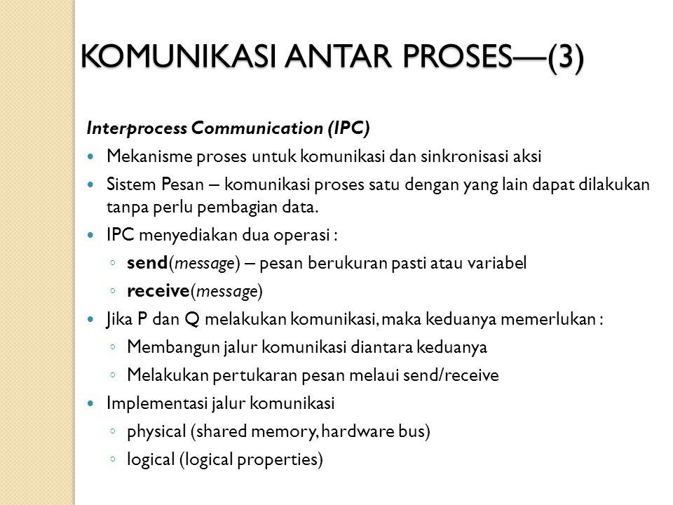 KOMUNIKASI ANTAR PROSES — (3) Interprocess Communication (IPC) Mekanisme proses untuk komunikasi dan sinkronisasi aksi Sistem Pesan – komunikasi prose