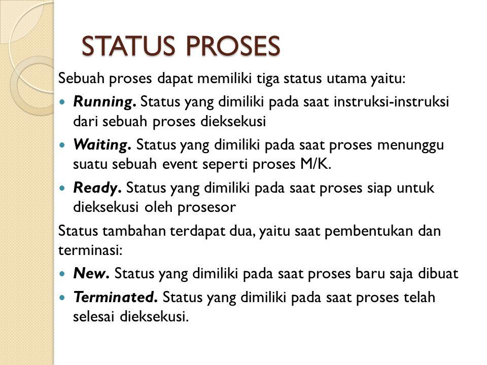 STATUS PROSES Sebuah proses dapat memiliki tiga status utama yaitu: Running. Status yang dimiliki pada saat instruksi-instruksi dari sebuah proses die