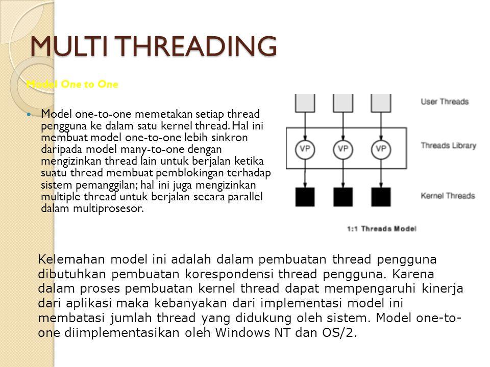 MULTI THREADING Model One to One Model one-to-one memetakan setiap thread pengguna ke dalam satu kernel thread. Hal ini membuat model one-to-one lebih