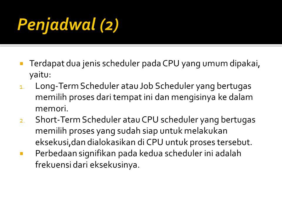  Terdapat dua jenis scheduler pada CPU yang umum dipakai, yaitu: 1.