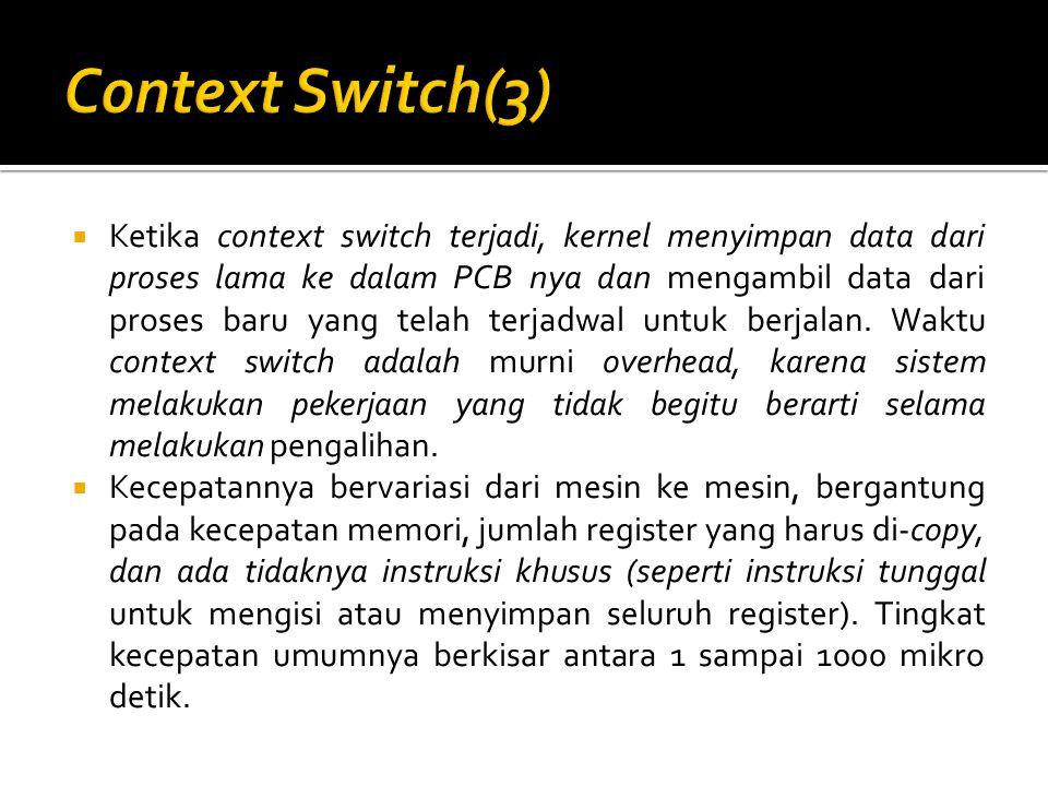  Ketika context switch terjadi, kernel menyimpan data dari proses lama ke dalam PCB nya dan mengambil data dari proses baru yang telah terjadwal untuk berjalan.