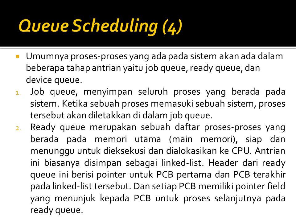  Umumnya proses-proses yang ada pada sistem akan ada dalam beberapa tahap antrian yaitu job queue, ready queue, dan device queue. 1. Job queue, menyi