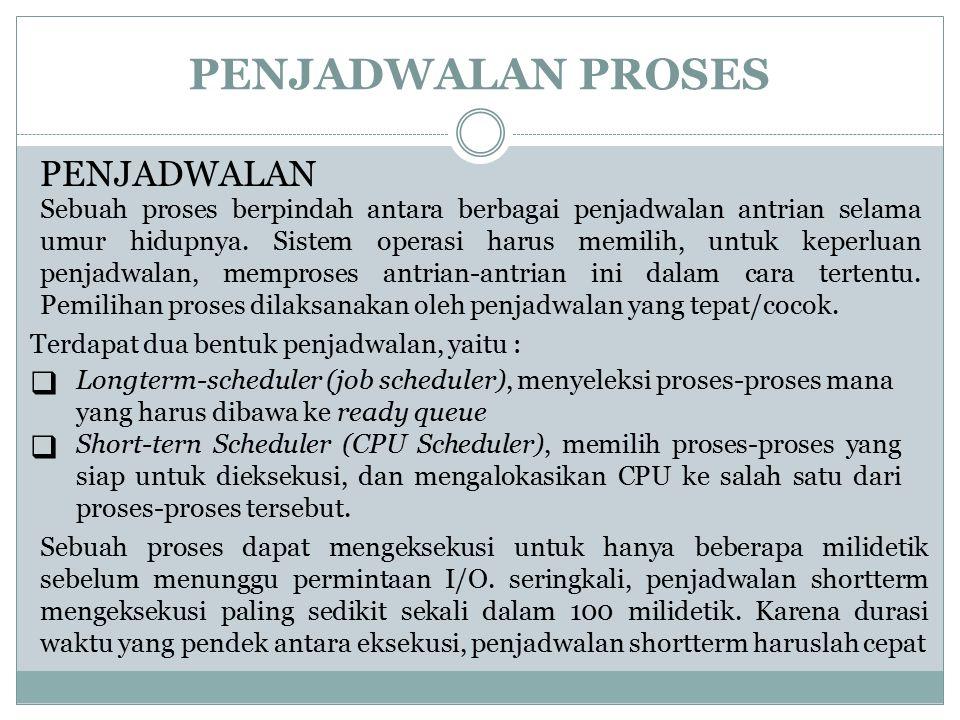 PENJADWALAN PROSES PENJADWALAN Terdapat dua bentuk penjadwalan, yaitu :  Longterm-scheduler (job scheduler), menyeleksi proses-proses mana yang harus