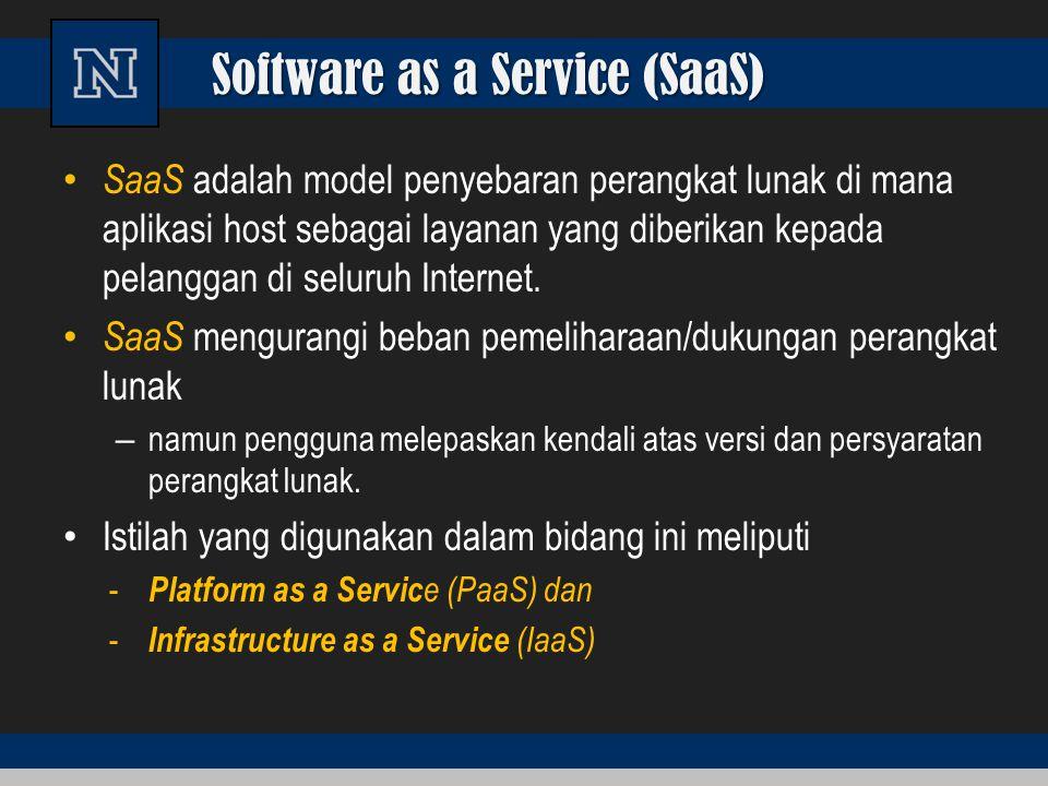 Software as a Service (SaaS) SaaS adalah model penyebaran perangkat lunak di mana aplikasi host sebagai layanan yang diberikan kepada pelanggan di sel