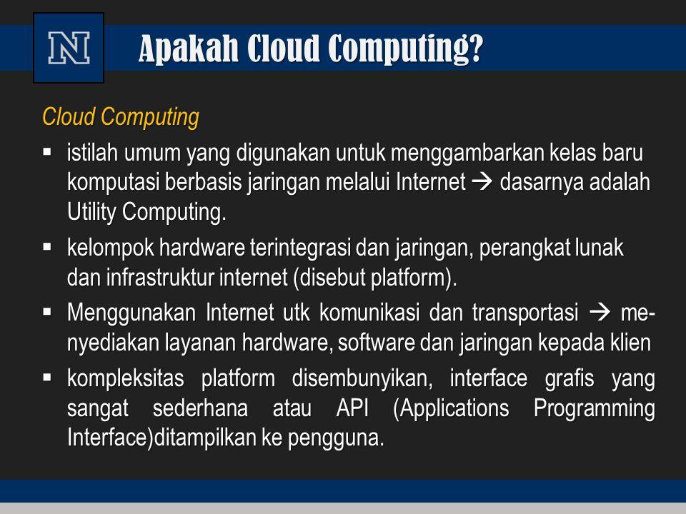 Apakah Cloud Computing? Cloud Computing  istilah umum yang digunakan untuk menggambarkan kelas baru komputasi berbasis jaringan melalui Internet  da