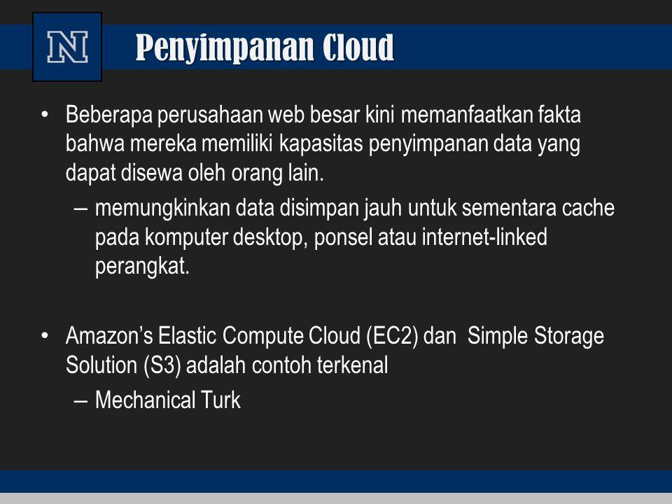 Penyimpanan Cloud Beberapa perusahaan web besar kini memanfaatkan fakta bahwa mereka memiliki kapasitas penyimpanan data yang dapat disewa oleh orang