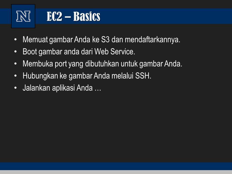 EC2 – Basics Memuat gambar Anda ke S3 dan mendaftarkannya. Boot gambar anda dari Web Service. Membuka port yang dibutuhkan untuk gambar Anda. Hubungka