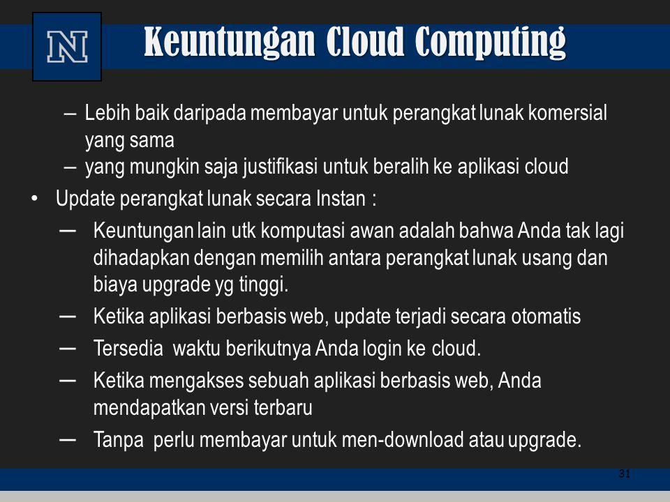 Keuntungan Cloud Computing – Lebih baik daripada membayar untuk perangkat lunak komersial yang sama – yang mungkin saja justifikasi untuk beralih ke a