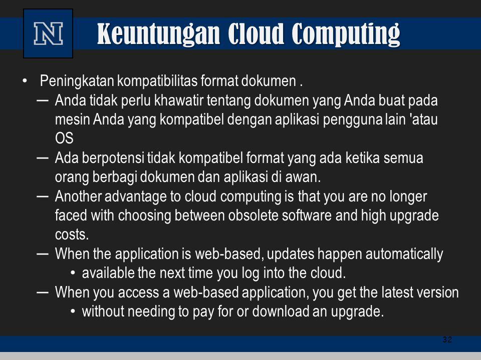 Keuntungan Cloud Computing Peningkatan kompatibilitas format dokumen. ─Anda tidak perlu khawatir tentang dokumen yang Anda buat pada mesin Anda yang k