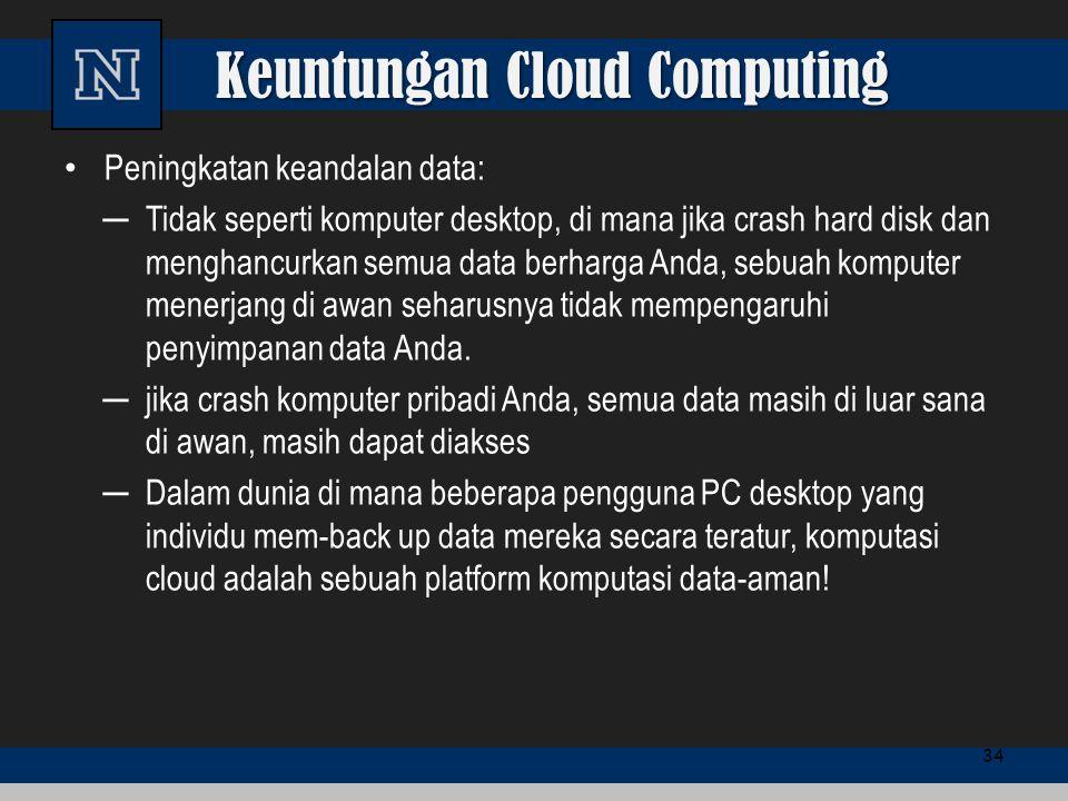Keuntungan Cloud Computing Peningkatan keandalan data: ─Tidak seperti komputer desktop, di mana jika crash hard disk dan menghancurkan semua data berh