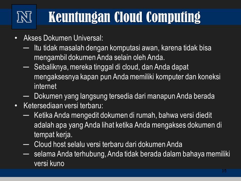 Keuntungan Cloud Computing Akses Dokumen Universal: ─Itu tidak masalah dengan komputasi awan, karena tidak bisa mengambil dokumen Anda selain oleh And