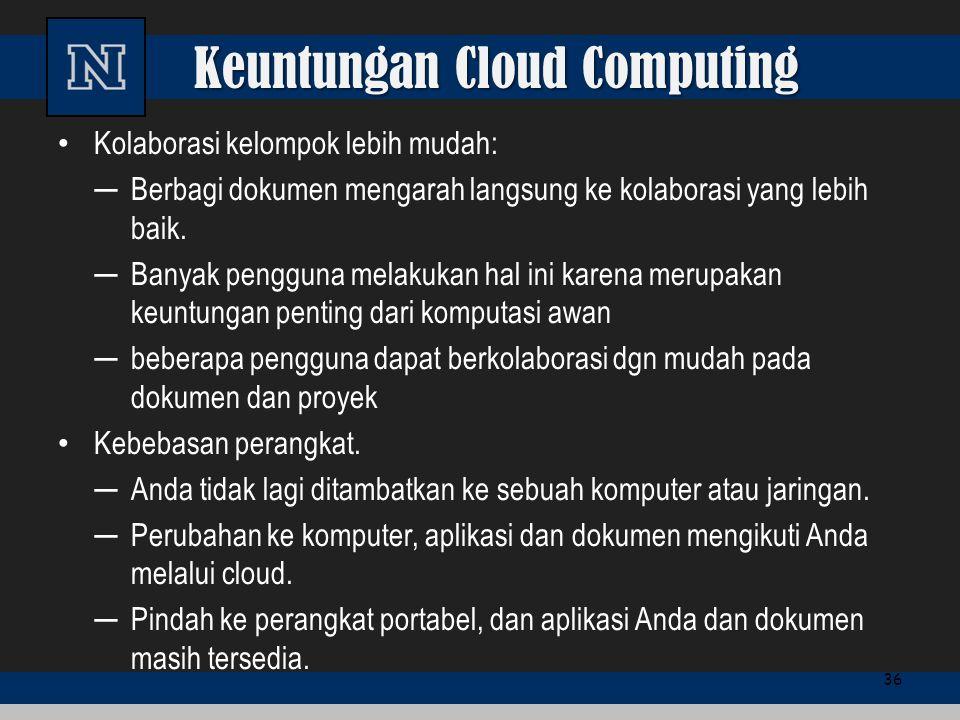 Keuntungan Cloud Computing Kolaborasi kelompok lebih mudah: ─Berbagi dokumen mengarah langsung ke kolaborasi yang lebih baik. ─Banyak pengguna melakuk