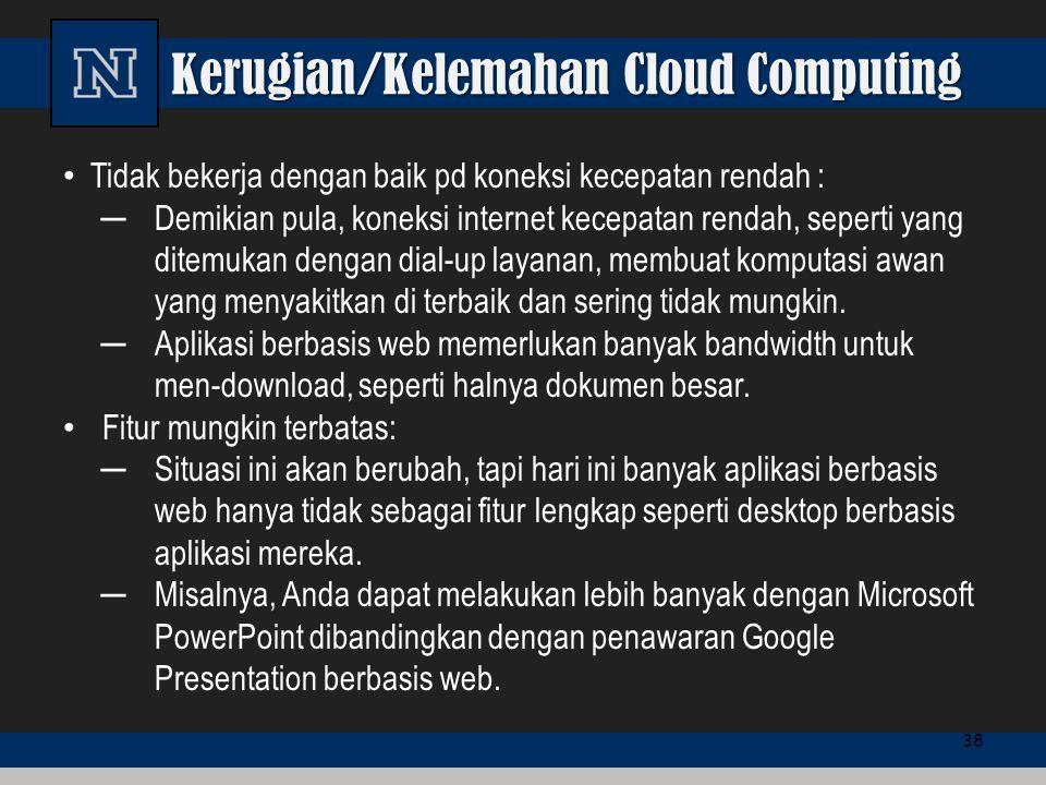Kerugian/Kelemahan Cloud Computing Tidak bekerja dengan baik pd koneksi kecepatan rendah : ─Demikian pula, koneksi internet kecepatan rendah, seperti
