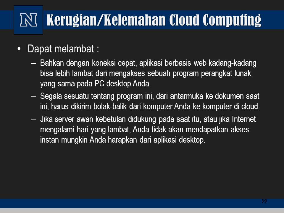 Kerugian/Kelemahan Cloud Computing Dapat melambat : – Bahkan dengan koneksi cepat, aplikasi berbasis web kadang-kadang bisa lebih lambat dari mengakse
