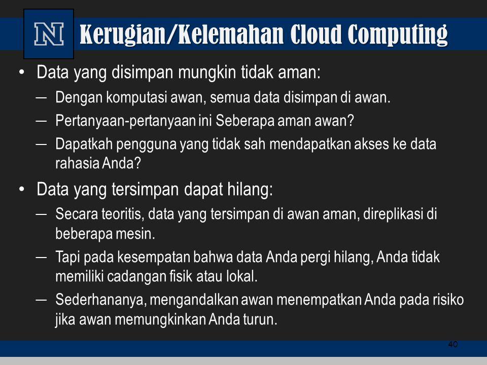 Kerugian/Kelemahan Cloud Computing Data yang disimpan mungkin tidak aman: ─ Dengan komputasi awan, semua data disimpan di awan. ─ Pertanyaan-pertanyaa