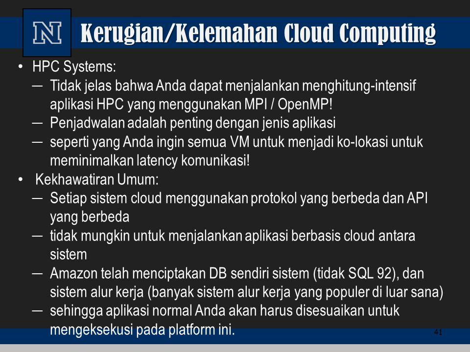 Kerugian/Kelemahan Cloud Computing HPC Systems: ─ Tidak jelas bahwa Anda dapat menjalankan menghitung-intensif aplikasi HPC yang menggunakan MPI / Ope